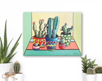 Cactus Art, Cactus Painting Whimsical Art, Succulent Painting Home Decor Wall Art, Succulent Plants Kithen Decor