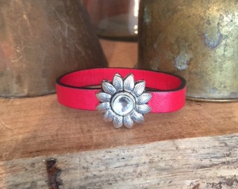 Antiqued Silver Daisy Magnetic Leather Bracelet: True Red with Crystal!
