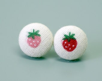 Red and Pink Strawberry Covered Button Earrings ~ Girls Earrings ~ Fabric Button ~ Set of 2 - 15mm (0.59 inch)