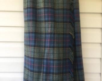 Blanket Skirt aClothing, Tartan, Skirt, Fringed Wrap Skirt, Vintage Tartan, Plaid Green Skirt, Size 10, Skirt,