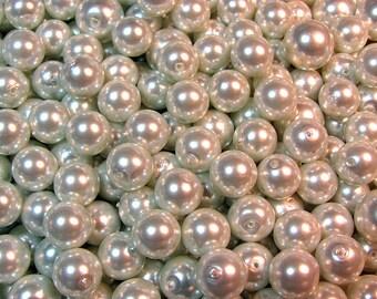 White Round Glass Pearls 2 sizes