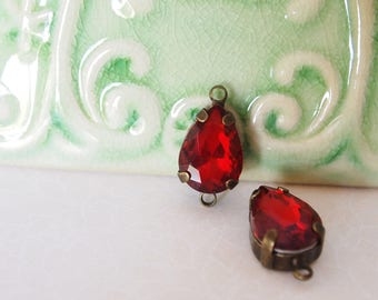 2 Glass Rhinestone Faceted Tear Drops Double Loop Connector Colour Red Metal Is Antique Brass Tone  Size 14x10mm