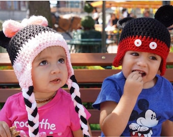 Minnie or Mickey Mouse Beanie