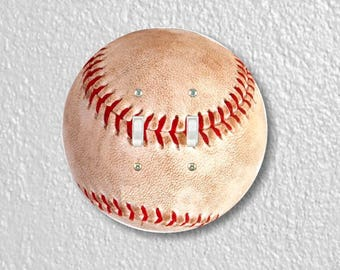 Baseball Ball Sport Round Double Toggle Light Switch Plate Cover