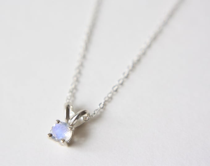 4mm Round Faceted Moonstone Necklace