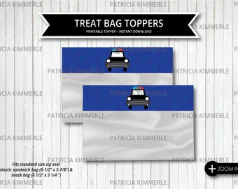 Printable Bag Toppers, Policeman, Police Car, Police Badge, Hero, Police Department,  Police Party, Decorations, Treat Bag, INSTANT DOWNLOAD