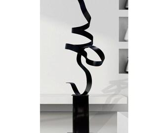 Modern Abstract Metal Garden Art Modern Sculpture, Large Metal Indoor-Outdoor Statue - Black Perfect Moment by Jon Allen