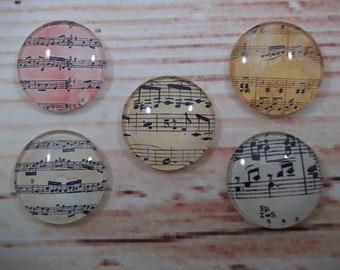 Music Note Fridge Magnets, Glass Kitchen Magnets, Set of 5, Kitchen Decor, Hostess Gift, Housewarming Gift, Office Decor, Locker Magnet