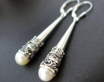 "White Pearl 2.25"" Long Tear Drop Bali Sterling Silver Earrings JD118-W"