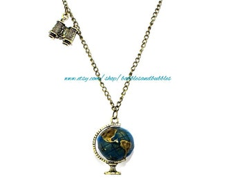 Vintage Globe Necklace - Vintage Jewelry - Necklace Pendant - Vintage Globe Pendant - Earth Pendant - Earth Gift - NEXT DAY SHIPPING
