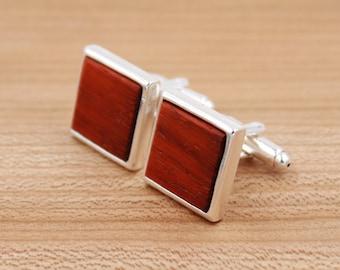 Padauk Square Wooden Cufflinks - Silver Cufflinks - Groomsmen gift - 5th Wedding Anniversary Present
