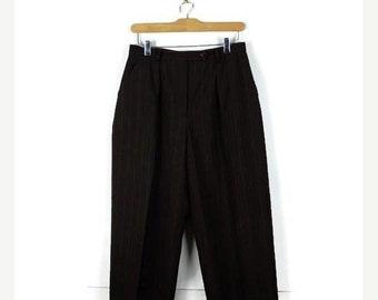 ON SALE Ralph Lauren Dark Brown x White Stripe High waist tapered pants/W27