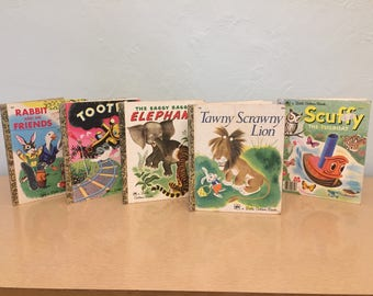 Five 1970s-90s Classic Little Golden Books - Saggy Baggy Elephant, Tawny Scrawny Lion, Scuffy the Tugboat, Tootle, Rabbit and His Friends