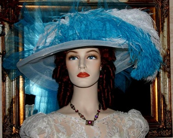 Turquoise Kentucky Derby Hat, Ascot Hat, Victorian Tea Party Hat, Wide Brim White Hat - Turquoise Crystal Fairy