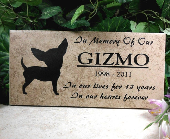 "Chihuahua Grave Marker 12x6 - ""Gizmo"" design - Weathered Italian porcelain stone tile"