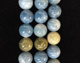 Aquamarine smooth round beads 15.5""