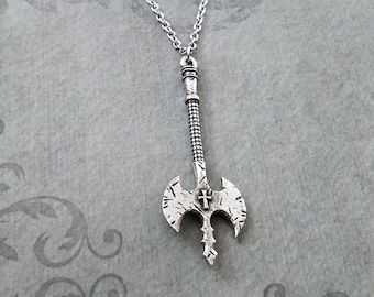 Labrys Necklace Labrys Jewelry Double Axe Necklace Double Sided Ax Double Headed Battle Axe Medieval Weapon War Axe Knights Templar Crusader