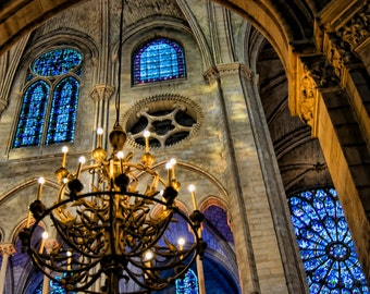 Paris Photography - Evening at Notre Dame - Architectural - blue stained glass windows, twinkle lights  - Fine art photography - Wall Art