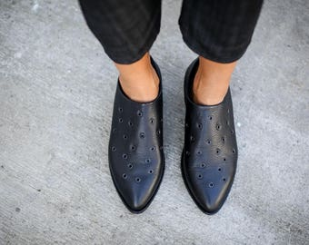 SALE, Black Leather Shoes, Handmade Shoes, Winter Shoes, Black Loafers, Leather Flats, Winter Flats, Black Oxfords, Flat Shoes, Ines