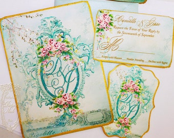 Marie Antoinette Invitations Musique of Enchantment Wedding, Shower, Bachelorette, Tea, Party, Event