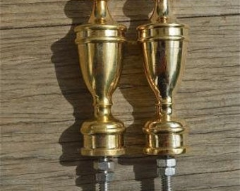 A pair of superb quality antique large brass furniture clock finials Z9