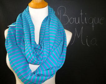PERFECT GIFT - Infinity SCARF - Soft Jersey Knit - Blue and Purple Stripe - by Boutique Mia