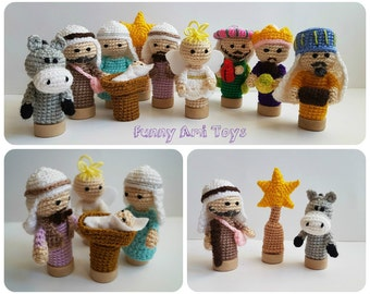 Crochet Nativity Finger puppet Fairytale gift Nativity set Christmas creche Christmas Story Holiday Gift Christmas decor Kids gift baby gift