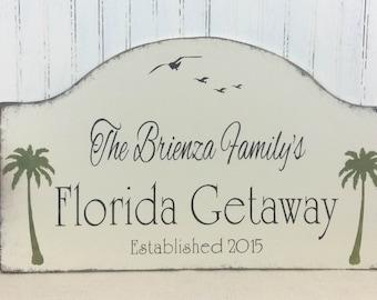 Florida getaway sign, personalized beach house sign, tropical custom sign, palm trees decor, custom Florida sign, retirement, snowbird sign,