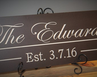 Last Name Sign Family Name wood sign 8x24 CARVED Established Sign Plaque Last Name Sign Wall Sign Engraved Personalized