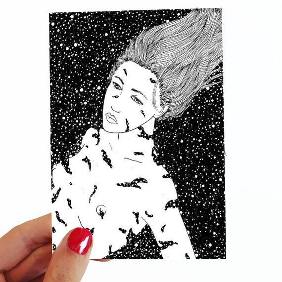 Brisée. Postcard drawing //small size art // illustration // figurative art // woman // inked drawing // surreal drawing // nude // universe