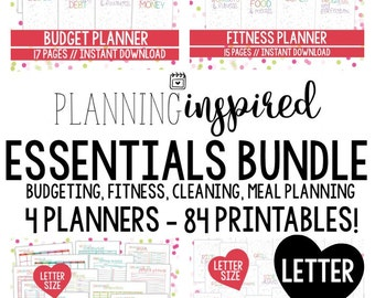 Printable Planning Inspired Essentials Bundle, Budgeting, Cleaning, Meal Planning + Fitness, Printable Planner, 84 Printables!
