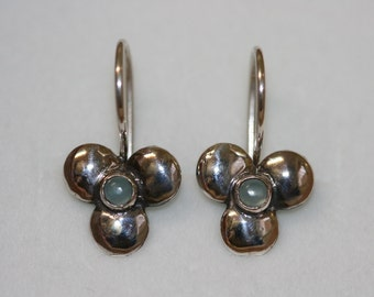 Blue Caldony Silver Earrings, Silver Earrings,  Handmade 925 Silver Earrings,Everyday Wear Earrings,Blue Stone Silver Flower