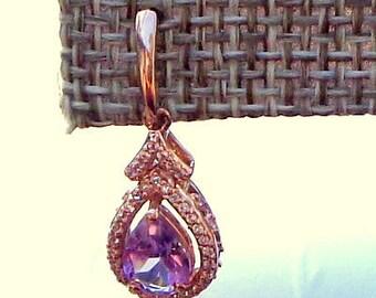 Solid 10K Rose Gold, 1.80ctw Genuine Amethyst & White Sapphire, Dangle Earrings, Gem Drop Earrings, Natural Gemstones, Ladies Gift