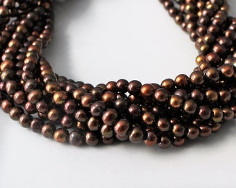 Brown Pearls, Freshwater Pearls, Chocolate Pearls, Coffee Pearl, Potato Pearl Bead, Round Pearl Strand 5mm Pearl Peacock Pearl Full Strand