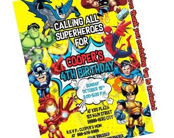 Superheroes Party Printable Invitation with FREE Thank you Tag-DIY Digital File-Superheroes Birthday Invitation -You Print