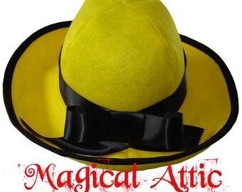 Custom Boutique Halloween MADELINE Yellow Felt Hat
