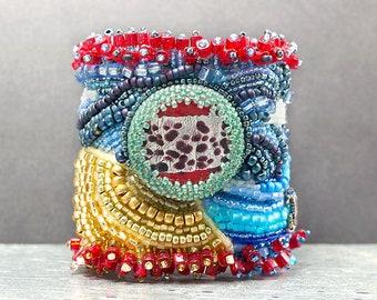 Modern Embroidery, Beach, Leather Bracelet, Cuff Bracelet, Beaded Jewelry, Bracelet