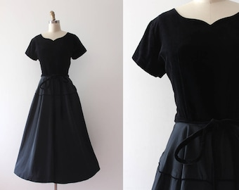 vintage 1950s evening dress // 50s black party dress