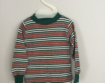 70s Green Striped Boys Shirt Size  24 months - 2t