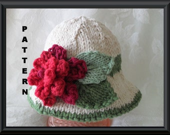Baby Hat Pattern Instant Download Hat Pattern Knitting Pattern for Baby Hat with Two Different Flowers: PINK and RED Flowers BRIMMED Hat