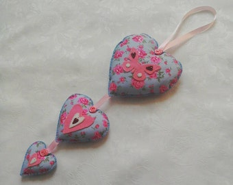 hanging heart, hanging decoration, pink, blue, rose fabric, hand stitched, birthday gift, home decor, teachers gift, mothers day gift