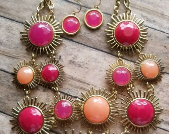 Faux Pink Gemstone Necklace Set Statement Necklace Gifts for Her Sunburst Necklace Set Small Dangle Earrings Pink Gemstones Bib Necklace Set