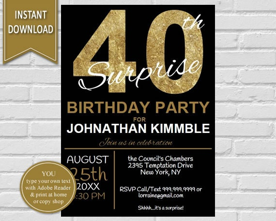 40th Surprise Birthday Invitation 40th Birthday Invite