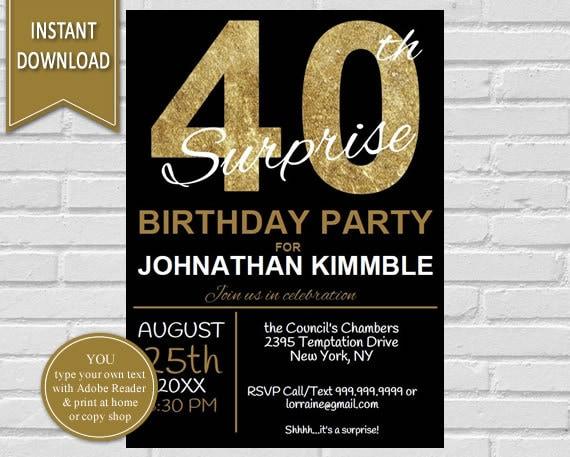 40th surprise birthday invitation 40th birthday invite zoom filmwisefo