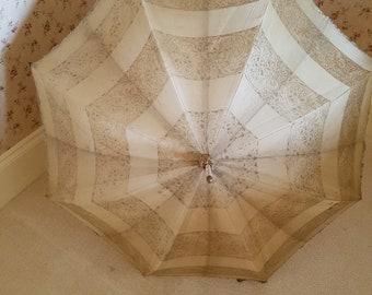 Vintage cream silk and lace S. Fox and Co Ltd Paragon parasol, steampunk parasol, gothic parasol, costume parasol, steampunk clothing,