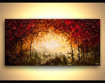 "Landscape Blooming Trees Painting Original Abstract Modern Acrylic by Osnat - MADE-TO-ORDER - 40""x20"""