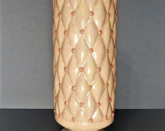 Vintage Arneis Vase.  Lovely Pearlized White Background with Pink Accents.  Home Decor.