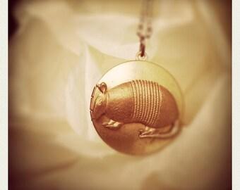 old armadillo locket necklace