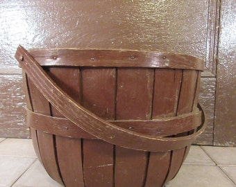 Nice vintage brown painted apple gathering basket with handle- some wear, beautiful, solid, functional