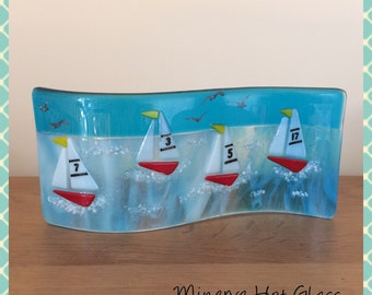 Fused Glass Curve, Fused Glass Wave, Yachts, Sailing Boats, Minerva Hot Glass